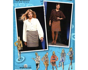 Blouse & Skirt Pattern  Simplicity 2807 Full Gathered Blouse, Mini Skirt Project Runway Womens Size 4 to 12 Sewing Pattern