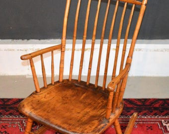 Antique 18th Century Pine Bird Cage Windsor Rocking Arm Chair