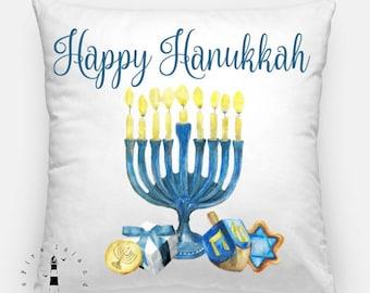 Happy Hanukkah Pillow, Hanukkah Throw Pillow, Jewish Holiday Pillow, Hanukkah Decor, Festival of Lights, Chanukah Pillow, Happy Hanukkah