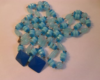 Vintage blue long necklace and square earring set