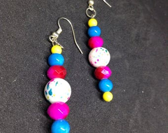 Bright Paint Splatter Dangle Earrings