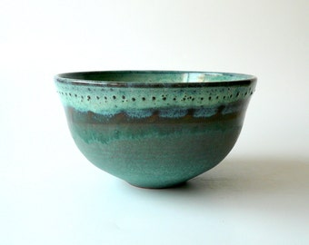 Bowl in Mint Green and Turquoise, Hand Carved
