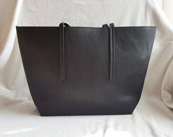 Black Navy Reversible Faux Leather Tote With Large Pouch with Zipper, Leather Tote Bag, Minimalist Tote Bag, Leather like Tote,Everyday Tote