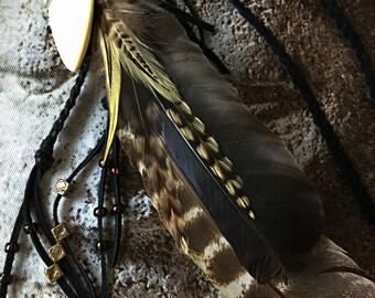 Feather & leather boho necklace