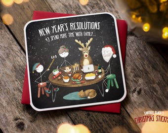 Funny Christmas Card / Christmas Card / Funny Holiday Card / Family / Selfie / New Years Resolutions / Christmas Stickman / XS10