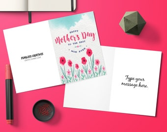 Editable, Floral, Mothers Day Card, Gift for Mom, Flowers, Mothers Day, Greeting Cards, Mothers Day Gift, Mom Gift, Digital Download, Gift