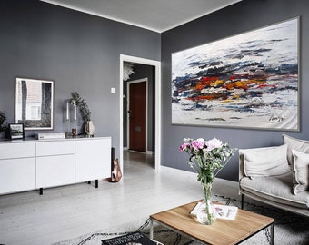 """Black and White Minimalist Original Abstract Wall Art Painting Extra Large Heavy Textured Palette Knife Modern Art 80"""" 200cm XL XXL"""