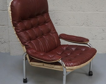 Vintage Red Leather & Chrome Armchair