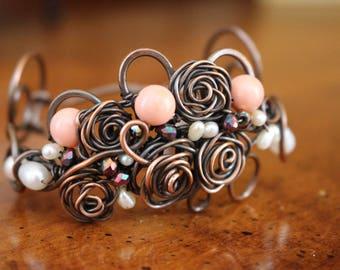 Copper Wirework, Cuff Bracelet, Roses