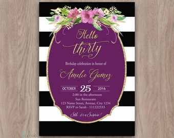 30th Birthday Invitation, 30th Birthday Invitation for Women, 30th birthday for her, 30th birthday invites, hello thirty dirty thirty purple