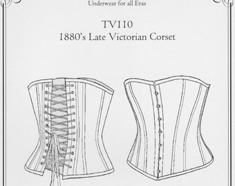 TV110, 1880's Late Victorian Corset Sewing Pattern by Truly Victorian