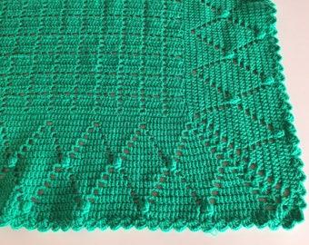 Vintage 50s Hand Crocheted Wool Blanket