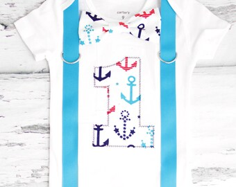 Baby boy first birthday Nautical Theme Bow tie Suspenders Boy Cake Smash Boy first year Boy number 1 Boy first birthday Boy Sailing