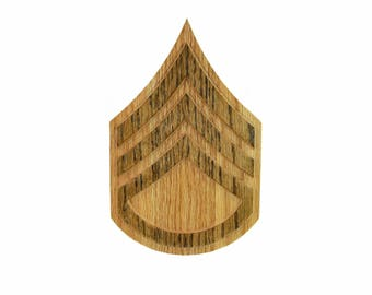 ARMY E6 Rank Plaque SSG Staff Sergeant Carved Wall Wooden Military Army Promotion Retirement Gift