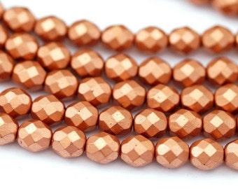 10 Czech glass beads 8 mm/Matt Metallic copper
