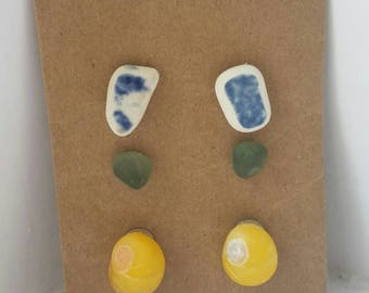 Sea glass pottery shell heart earrings - 3 pairs