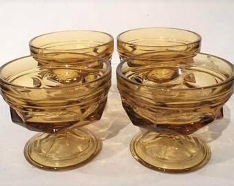 Amber Fairfield Glass Sherbet Cups | Anchor Hocking Fairfield Amber Sherbet Cups