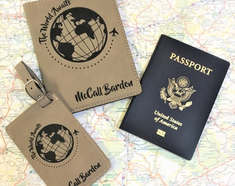Luggage Tag & Passport Holder - Personalized Luggage/Passport Set - Travel Enthusiast Gift- Travel Abroad Gift