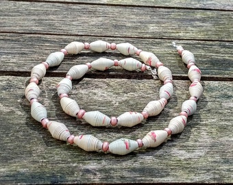 Handmade necklace with beige - pink recycled paper and pink pearl glass beads