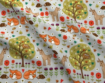 Woodland Baby Animals Fabric - Woodland Wildthings By Angie Spurgeon - Deer Fox Hedgehog Cotton Fabric By The Yard With Spoonflower