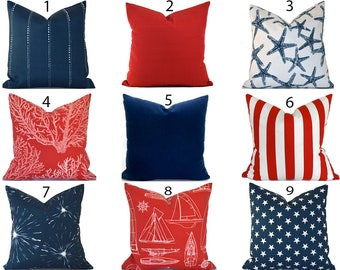 Outdoor Pillows Decorative Pillows Outdoor Pillow Covers ANY SIZE Pillow Cover Red Pillows Blue Pillows You Choose