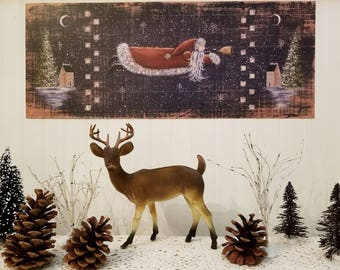 BELIEVE Santa Folk Art Print by Donna Atkins. Primitive St. Nick Trumpets the Arrival of Christmas. Rustic distressed look.
