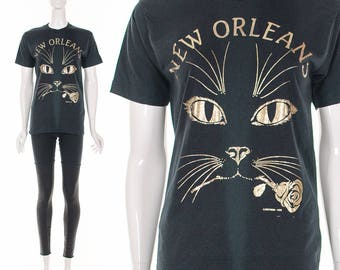 Vintage 70's Black T-Shirt Gold Foil Kitty Cat and Rose New Orleans Vintage Tee Small Medium