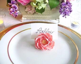 Wedding Peony Place Card Holder Flower Esort Card Holder Wedding Favors Set of 10 Made to Order