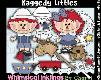 Raggedy Littles Clip Art, BONUS Lineart, Digital Stamps, Black and White, Line Art, Instant Download, Ann, Andy, Rag Doll, Prim, Annie, Toys