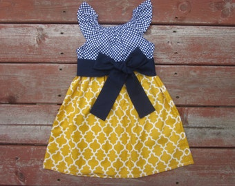Girls Navy and Mustard Yellow Lattice Print Flutter Sleeve Dress with Sash 6 12 18 24 2T 3T 4T 5 6 7 8 9 10
