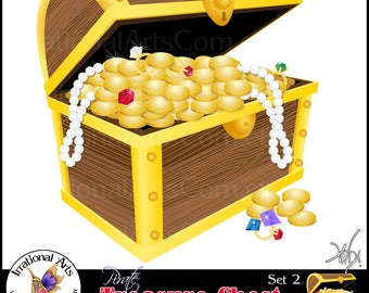 Pirate Treasure Chest Set 2 Digital Clipart Graphics - 2 files - treasure, diamond, emerald, ruby, coins, pearl, etc {Instant Download}