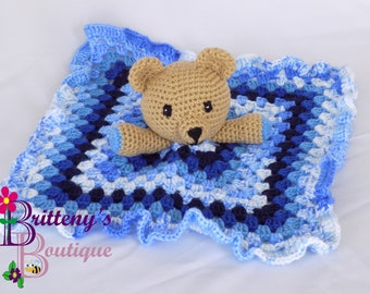 Baby Lovey Crochet Baby Lovey Crochet Plush Tan Teddy Bear Baby Boy Blue Security Blanket Snuggle Blanket Baby Shower Gift 18 inches Square