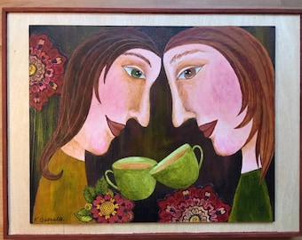 A Bond of Friendship Original Painting - Mixed Media Acrylic Folk Art Painting on a wood surface