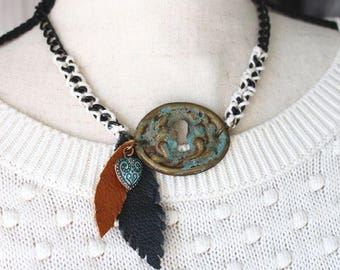 Keyhole Pendant Necklace with Leather Feathers