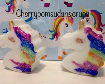 10 x chunky rainbow glittery unicorn soaps