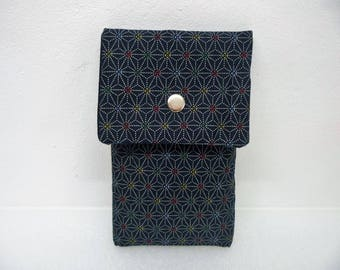 Large blue Japanese fabric phone pouch, smartphone case,