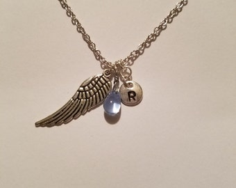 Birthstone March Aquamarine necklace wing Aquamarine March birthstone Aquamarine wing birthstone necklace Aquamarine birthstone wing charm