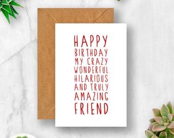 Sweet Description Happy Birthday Friend Card, Card for Friend, Amazing Friend Card, Friend Birthday Card, Cute Birthday Card, Funny Birthday