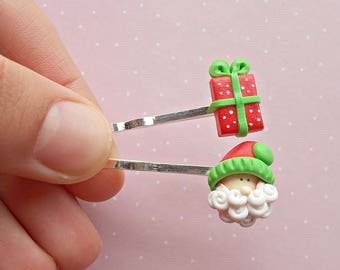 Christmas Hair Clips -  Santa Hair Clip - Gift Hair Clip - Hair Accessories - Holiday Hair  Accessories Clip - Christmas Girls Gift