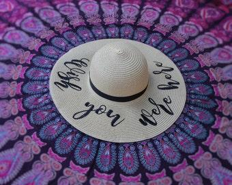 Wish You Were Here Beach Hat, Floppy Hat, Straw Hat, Ladies Sun Hat, Honeymoon, Girls Weekend Away, Bachelorette Party
