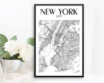 New York Map, Framed Poster, New York City Print, New York Print, New York Frame, NYC Maps, New York Wall Art, Framed Map of New York Decor