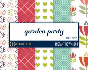 Garden party digital paper | Tulip scrapbook paper | Spring digital paper | Butterfly digital paper | Flower Scrapbook Paper | Summer Paper