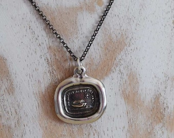 Noahs Ark Wax Seal Necklace - Safety in the Ark - Biblical Jewelry made from an Antique Wax Seal - 108