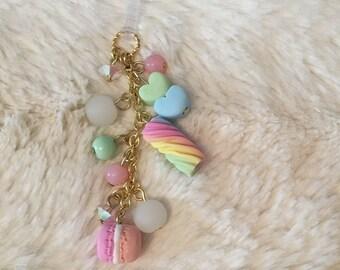 Cute Pastel Kawaii Phone Dust Plug w/ Swarovski Crystals -French Macaron, Twist, and Heart Charms