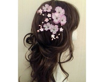 Pink Cherry Blossom Flower Floral Hair Clips Accessories