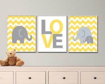 "Printable Elephant Love Art Print Set, Suits Baby Girl Boy Nursery, Dark Yellow Nursery Decor, Set of 3 -8x10"" Digital Instant Download"