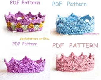 4 crochet Baby Crowns Patterns - PROMO price