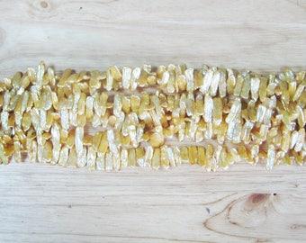"Yellow Freshwater Pearl Stick Beads, 18"" Strand (10-15mm x 6mm)"