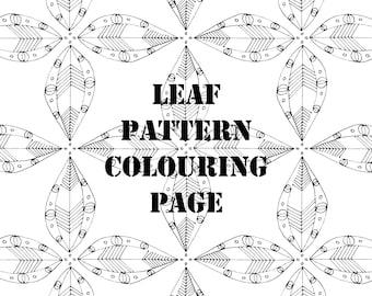 Leaf Pattern Digital Printable Colouring Page