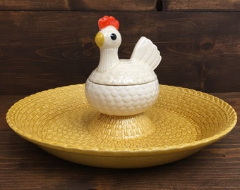 RARE Metlox Basket Weave Chicken Hen Chip and Dip Veggie Chicken Wings Serving Dish Platter
